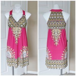 INC embellished halter hot pink mini dress sz M